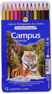 Campus University MKP1120–12TN–Crayons de couleur aquarellables Boîte, Lot de 12 de la marque Campus image 0 produit