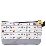 Cartable et Trousse Emoji pour l'école et le temps libre - Sac à dos et étui scolaire pour garçon ou fille - Émoticônes officielles de Whatsapp - 2 en 1 - Blanc et Gris - Perletti de la marque Perletti image 4 produit