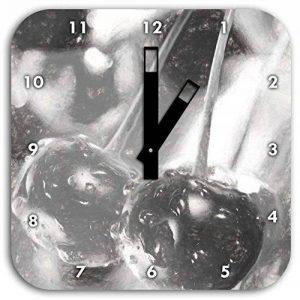 cerises fraîches sur l'effet de dessin au fusain de l'arbre, le diamètre de l'horloge murale 28cm avec des mains carrées noires et visage, objets de décoration, Designuhr, composite aluminium très agréable pour salon, bureau de la marque Stil.Zeit image 0 produit