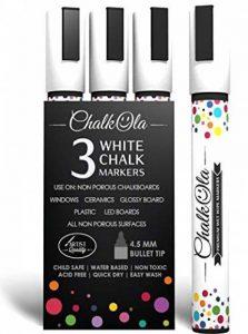 Chalkola Marqueurs Craie - Lot de 3 craie blanche - Utilisables sur tableau blanc, tableau noir, fenêtre, ardoise - Feutres à Encre Liquide base aqueuse effaçable avec un chiffon humide - Pointe fine 4.5mm de la marque Chalkola image 0 produit