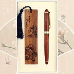 Chinoise Motif style Gift Set Flower Bookmark and Wood Rollerball Pen de la marque Blancho image 1 produit