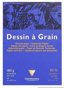Clairefontaine 96624C Dessin à Grain bloc collé 30F 21x29,7cm 180g à grain Blanc de la marque Clairefontaine image 0 produit