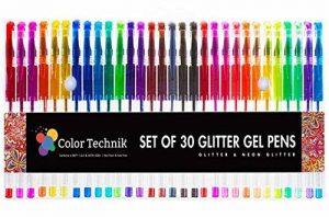 Color Technik Stylos gel à paillettes, lot de 30stylos à paillettes, couleurs assorties, désormais avec davantage d'encre. Grand ensemble de paillettes sur Amazon, améliorez votre expérience de livre de coloriage pour adulte dès maintenant. Idée cadeau! image 0 produit