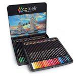 Colore Crayons de couleur - Ensemble de 48 crayons de couleur prime Pré-taillés pour dessiner et colorier des pages - Un super équipement d'art scolaire pour enfants et adultes - Livres à colorier- 48 couleurs de la marque Colore image 1 produit