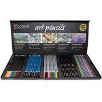 Colore Premium Art Lot - 50 crayons Assortis Lot de crayons pour pages de coloriage et livres - colorées, aquarelle, dessin, Charbon de bois et crayons de couleur métallique pour les étudiants, les en de la marque Colore image 1 produit
