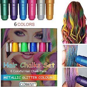 Craie pour cheveux, paillettes métalliques pour cheveux, craie temporaire Cidbest® 6couleurs, Halloween sexy, les couleurs de cheveux durent jusqu'à 2-3jours, fonctionnent sur tous les types de couleur des cheveux pour enfants et adolescents - Carnaval, image 0 produit