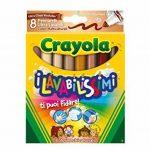 Crayola nbsp;–58–8336–I Lavabilissimi Lot de 8marqueurs lavables, grosse pointe, couleurs multiculturelles de la marque Crayola image 1 produit