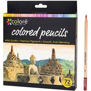 Crayons de Couleur de Colore - Ensemble de 72 crayons de couleur taillés Premium pour faire des coloriages - Très bien pour les fournitures scolaires, les enfants et les adultes et pour le coloriage - 72 couleurs vives de la marque Colore image 0 produit