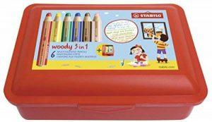 Crayons de couleur, de l'eau couleur & cire fois Craie avec boîte de rangement–Stabilo Woody 3en 1Box–Lot de 6avec taille-crayon et boîte–6couleurs de la marque STABILO image 0 produit
