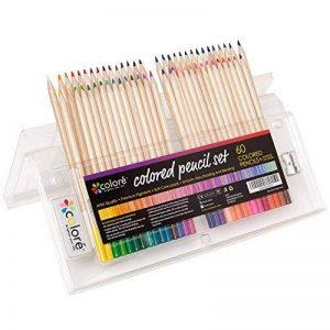 Crayons de couleur - Ensemble de crayons de couleur primes et pré-taillés pour le coloriage et le dessin- Gomme et taille-crayon GRATUIT- Excellent équipement pour le retour à l'école pour enfants et adultes- Livre de coloriage - 60 Couleurs de la marque image 0 produit