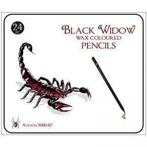 Crayons de couleur noire Widow ® pour adultes, le meilleur ensemble de crayons de couleur pour les livres de coloriage pour adultes, une trousse de dessin Blackwood de qualité 24 pièces disponible à utiliser dans vos livres. de la marque Black Widow Colle image 0 produit