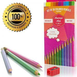 Crayons de couleur pour des livres de coloriage pour adulte. Incroyable Crayons de couleur pour adultes et enfants. Amerigo Lot de 36Couleurs + Taille-crayon gratuit. doux Cœur. Excellent également Crayons pour les enfants. de la marque Amerigo image 0 produit