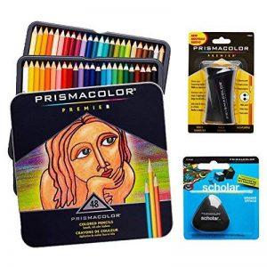 Crayons de couleur Prismacolor Premier Set qualité Art–Lot de 48, Premier crayon taille-crayon 1Pack et sans latex Gomme Scholar 1Pack de la marque Prismacolor image 0 produit