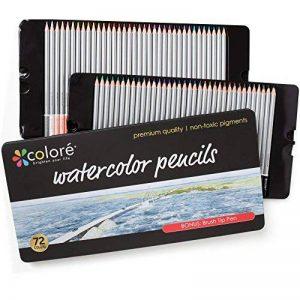 Crayons de couleurs Colore - 72 crayons de couleurs solubles dans l'eau pour étudiants et professionnels de l'art - Couleurs assorties avec le livre de coloriage et d'esquisse pour enfants et adultes - Stylo à brosse GRATUIT - ensemble de 72 couleurs de l image 0 produit