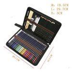 crayons de couleurs pastels aquarellables,54PCS Crayons de Dessin Crayons Croquis Art Set, materiel de dessin et personnalisé Grande trousse, Meilleur Cadeau pour les étudiants et artistes de la marque Zzone image 3 produit