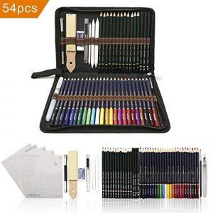 crayons de couleurs pastels aquarellables,54PCS Crayons de Dessin Crayons Croquis Art Set, materiel de dessin et personnalisé Grande trousse, Meilleur Cadeau pour les étudiants et artistes de la marque Zzone image 0 produit