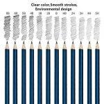 Crayons Dessin Professionnel Set de Crayons Fusain Materiel Gommes à Effacer et Aiguisoirs Sac Inclus Gomme Crayon de Charbon Graphite Outils pour Dessiner 36 PCS de la marque seebesteu image 3 produit
