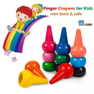Crayons à dessiner pour enfants, doigt en forme de Crayons de cire Non toxiques 12 couleurs, Palm Grip colorier peinture Crayons pour tout-petits, bébés, enfants, garçons, filles, jouets empilables de la marque Tian Heng image 0 produit