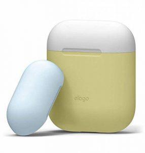 elago AirPods Duo Casque Etui Housse [avec Deux Capuchons] [Coque de Protection en Silicone] [Ajustement Parfait] pour Apple Airpods (Body-Jaune/Top-Blanc, Bleu Pastel) de la marque Elago image 0 produit