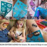 Ensemble de 12marqueurs pour peinture sur le visage avec 12pochoirs et e-book Pour enfants Non toxiques Peinture à l'eau de qualité facile à appliquer et longue durée Boîte robuste de la marque LoveArtsCrafts image 4 produit