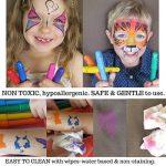 Ensemble de 12marqueurs pour peinture sur le visage avec 12pochoirs et e-book Pour enfants Non toxiques Peinture à l'eau de qualité facile à appliquer et longue durée Boîte robuste de la marque LoveArtsCrafts image 3 produit
