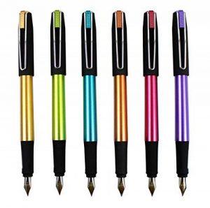 Ensemble de stylo plume Hillento YIREN, ensemble de stylo 6 couleurs, capuchon noir, plastique (doré, bleu, vert, violet, rouge, orange) de la marque Hillento image 0 produit