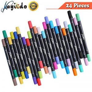 Ensemble de stylos à bille Magicdo à deux pointes - Pointe de pinceau 24 couleurs et stylos à pointe fine pour aquarelle, stylos à encre à base d'eau, stylos à bille pour esquisses, coloriage de la marque Magicdo® image 0 produit