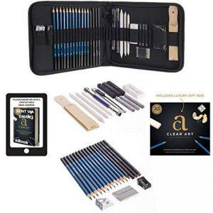 Ensemble/kit/trousse de fournitures d'art, pour dessin et croquis - 33 pièces -Crayons à papier, graphite, fusain, gommes, taille-crayons, outils essentiels et fournitures, présentée dans un coffret cadeau de la marque Clear Art Products image 0 produit