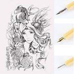 Ensemble porte-plume, Sayeec Gestionnaire de bois Artiste Dessin animé Stylo de calligraphie Dip stylos avec 3pointes–Idéal pour Manga/Comic/calligraphie/Word Art/Pen-and-ink Dessin Detail Portrayal Set de la marque SAYEEC image 1 produit