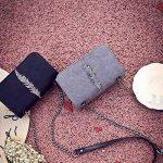 ESAILQ Décoration de plumes de mode Sac à main femme Sac bandoulière cuir Sac porté épaule femme Cabas femme Sacoche de la marque ESAILQ Femme Sacs bandoulière image 3 produit