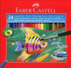 Faber-Castell 114425 Crayons couleur aquarellables Étui de 24 - pinceau inclus de la marque Faber-Castell image 0 produit