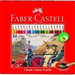 Faber-Castell 115845 Classic Crayons de couleur hexagonal, boîte métal de 24 de la marque Faber-Castell image 1 produit