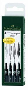 Faber-Castell 167100 Feutre PITT artist pen noir étui de 4 S/F/M/B de la marque Faber-Castell image 0 produit