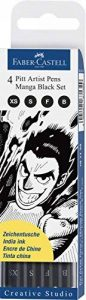 Faber-Castell 167132 Feutre PITT artist pen Manga black étui de 4 de la marque Faber-Castell image 0 produit