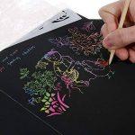 Faburo Cartes à Gratter camouflé et brillant 10pcs 19*26cm et 10pcs 10*14cm Magic Scratch Paper avec 8pcs Dessins à tableau et 2pcs Crayon en bois de la marque Faburo image 3 produit