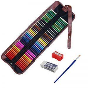 feelily 48pièces Qualité Artiste Aquarelle soluble dans l'eau de haute qualité Crayons de couleur avec Pot à crayons sans gomme, taille-crayon, & pinceau Estompeur de la marque Feelily image 0 produit