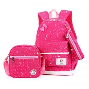 FRISTONE École Sac à dos/3pcs Enfants sac à sac à dos scolaire pour les filles+ Sac d'Épaule+Crayon sacs (Rose rouge) de la marque FRISTONE image 0 produit