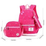 FRISTONE École Sac à dos/3pcs Enfants sac à sac à dos scolaire pour les filles+ Sac d'Épaule+Crayon sacs (Rose rouge) de la marque FRISTONE image 1 produit
