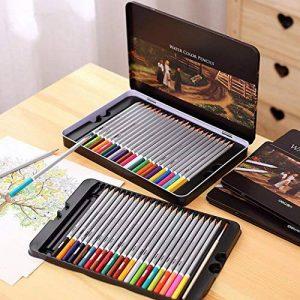 FUNRUI Crayons de Couleur Aquarellable 24 Set Dans Une Boîte En Métal, Colored Pencils Avec Un Pinceau pour Adulte Enfants Étudiants Professionnels Artiste, avec 1 Pinceau (48 pièces) de la marque FUNRUI image 0 produit