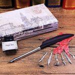 FUNRUI Rétro Plume D'Oie Stylo à Plume Calligraphie Stylo Plume Calligraphie Feather Pen Kit avec Bouteille D'Encre Vide, 6 Métal Nib de la marque FUNRUI image 4 produit