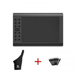 GAOMON M106K – Professionnel 10 x 6 Pouces Dessin Stylo Numérique Tablette Graphique avec San File Stylet (M106K+Un Doigt Gant+10 Nibs) de la marque GAOMON image 0 produit