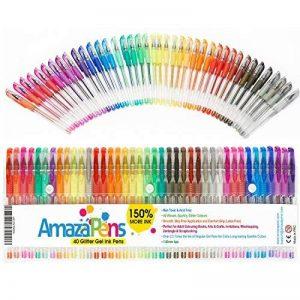 Gel Colouring Pens, Un paquet 40 stylos Super Glitter 150% d'encre en plus que dans les autres assortiments. Idéal pour rendre plus lumineux vos coloriages pour adultes et vos travaux créatifs de la marque AmazaPens image 0 produit