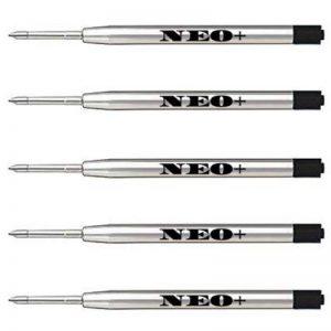 Gel de stylo à bille de qualité Recharges pour stylo en métal, bon marché mais durable, 5 pièces, pointe moyenne, encre noire. Pour stylo à bille Parker. Recharge style G2 fabriqué en Allemagne (5 x INOX GEL NOIR) de la marque NEO+ image 0 produit