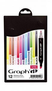 Graph'it Lot de 12 Marqueurs à alcool double pointe Classic colors de la marque GRAPH'IT image 0 produit