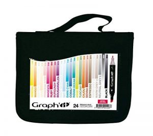 Graph'it Lot de 24 Marqueurs à alcool double pointe Basic colors de la marque GRAPH'IT image 0 produit