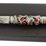 Gullor JinHao stylo plume sculpté en forme de dragon antique en argent avec perle rouge, bout moyen, noir et rouge de la marque Gullor image 4 produit