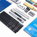 H&B Sketch Pencils Set Kit de dessin d'artistes dans un étui à fermeture à glissière avec un tampon à croquis, tous les accessoires divers et d'art pour votre peinture (48 Piece Advanced Pack). de la marque H&B image 1 produit
