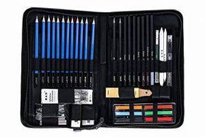 H&B Sketch Pencils Set Kit de dessin d'artistes dans un étui à fermeture à glissière avec un tampon à croquis, tous les accessoires divers et d'art pour votre peinture (48 Piece Advanced Pack). de la marque H&B image 0 produit