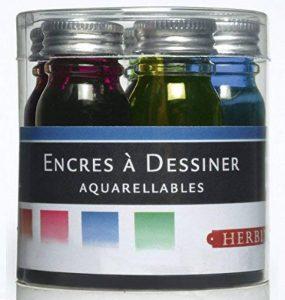 Herbin 12001T - Set de 5 Flacons 10ml d'Encre à Dessiner Orange/Rouge/Fuschia/Bleu/Vert de la marque J. Herbin image 0 produit