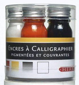 Herbin 12003T - Set de 5 Flacons 10ml d'Encre à Calligraphier Bleu/Rouge/Jaune/Noir/Blanc de la marque J. Herbin image 0 produit